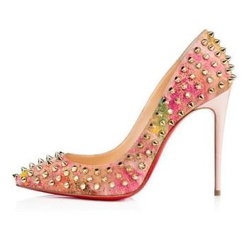 Christian Louboutin FOLLIES SPIKES 100 Cork Heels Pumps Shoes Blooming $1295