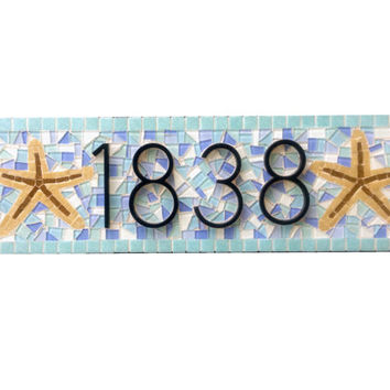 Aqua And Blue Address Sign With Starfish Mosaic House Number P Beachy