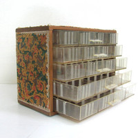 Vintage metal industrial Storage Box / tool box with drawers / Decoupage paper and beads