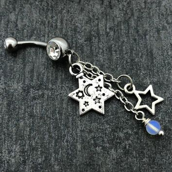 Sun, Moon & Stars Opalite belly button navel ring 14 gauge stainless steel body jewelry, 14g