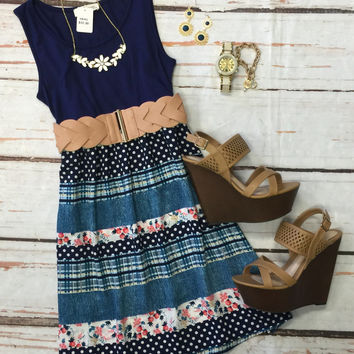 Falling in Love Dress: Navy