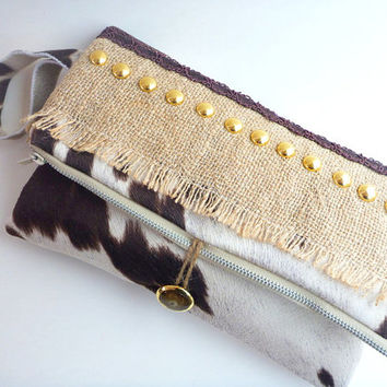 burlap clutch, boho chic clutch, vegan cowhide foldover clutch, western clutch, western handbag, western wedding, cowgirl bag, tablet bag