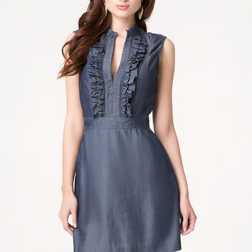 bebe Womens Ruffle Front Chambray Dress Chambray