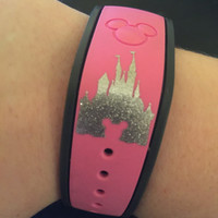 GLITTER Disney Magic Band Decal | Disney Castle Decal | Disney Mickey Decal | Disney Magic Band Castle Mickey Vinyl Decal | Disney Vinyl