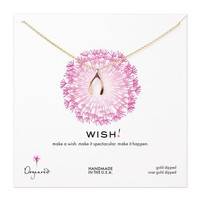 medium wishbone necklace, rose gold dipped
