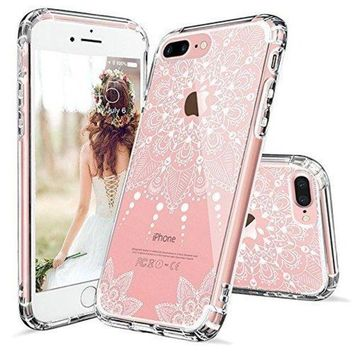 ONETOW iPhone 8 Plus Case, iPhone 8 Plus Clear Case,MOSNOVO White Henna Mandala Floral Lace Clear Design Printed Hard with TPU Bumper Protective Back Case Cover for iPhone 8 Plus (2017)