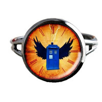 Dr Who Inspired Tardis Ring - Wings - Public Police Box Jewelry - Geeky Whovian