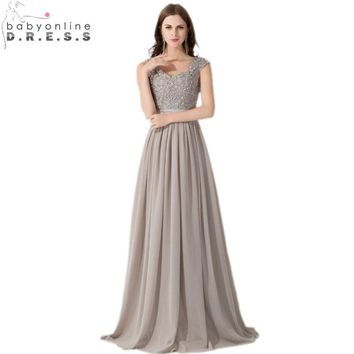 Real Photos Hot Selling Cap Sleeve Appliques Lace Long Grey Bridesmaid Dresses 2016 Wedding Party Dresses Sexy Sheer Back