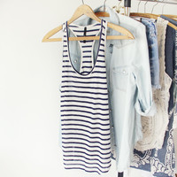 Basic Stripe Tank in Navy