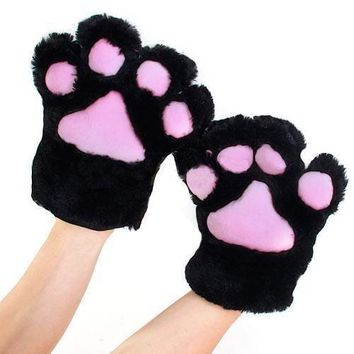 1 Pair Fluffy Bear Cat Kitten Paw Claw Full Gloves Plush Anime Novelty Cosplay Halloween Party Costume 5 Colors