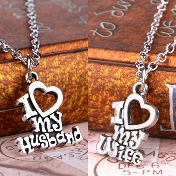I Love My Wife Husband Heart Letters Alphabet Pendant Necklace