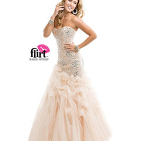 Flirt by Maggie Sottero 2014 Prom Dresses - Nude Silver Glittering Fit & Flare Tulle Dress