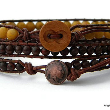 Mens Bracelet Set Leather Wraps Double and Single Wraps Set