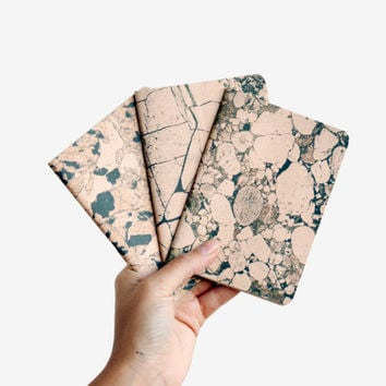 Marble Stone lot of 3 notebooks - marbled rose and black notebooks - blank - STO6001