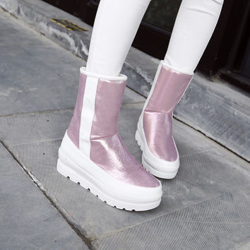 2015 winter thick platform bottom ankle flat heel slip on rainboots round toe female rain boots pink silver shoes boots