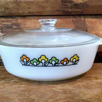 Vintage Fire King Summerfield Casserole Dish With Lid, One and Half Quart, Yellow Orange Green Flowers