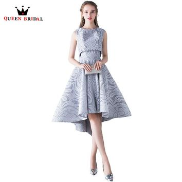 QUEEN BRIDAL Evening Dresses Two Piece High Low Sleeveless Prom Party Dress Evening Gowns 2018 New Fashion Vestido De Festa XS01
