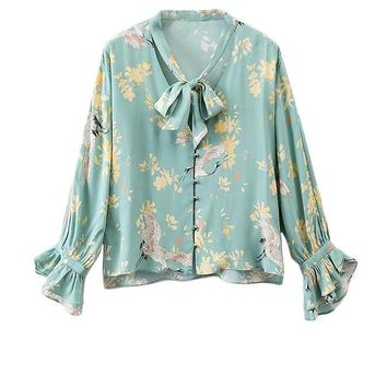 Women Green Flare Sleeve Floral Elegant Button Up Tops Fashion Cute Ruffle Tunic Blouse