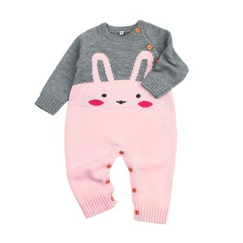 Toddler Newborn Baby Rompers Girls Boy Bunny Romper Knitted Cute Jumpsuit Outfits Clothing Autumn New Baby Clothes