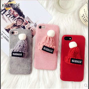 KISSCASE Winter Lovely Fluffy Case For iPhone 7 7 Plus Cases Cute Hat Phone Cover Accessories For iPhone 6 6S Plus iPhone 7 Case