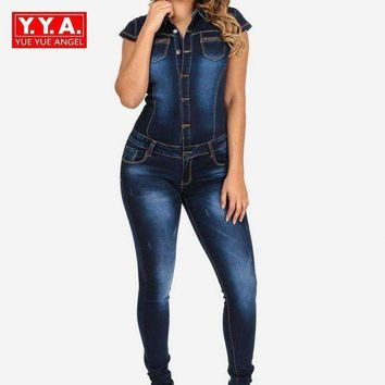 DCCKON3 2018 New Long Pants Denim Women Jean Jumpsuit Fashion Short Sleeve Slim Fit Jumpsuit For Woman Elegant Female Button Plus Size