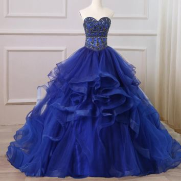 Elegant Royal Blue Dresses Ruffled Tulle Sweetheart Sparkling Stones Crystals Ball Gown Sweet 16 Dress