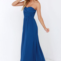 Royal Engagement Strapless Cobalt Blue Maxi Dress