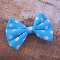 Blue and White Polka Dot Bow Clip Headband Hair Accessories Baby Toddler Adult