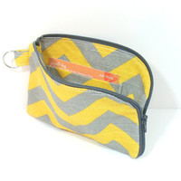Zip Around Pouch, Yellow Gray Chevron, Zipper Card Wallet, Credit Card Holder, Gray Zip Pouch, Business Card Holder, ID Card Pouch