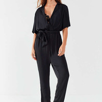 UO Bezel Wrap Belted Jumpsuit   Urban Outfitters