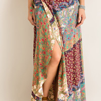 Patchwork Gypsy Maxi Wrap Skirt