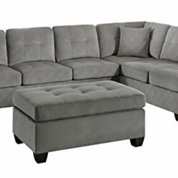 Home Elegance 8367TP-2PC 2 pc emilio taupe textured microfiber reversible sectional sofa set