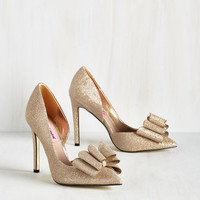 Luxe La Vida Luxe Heel in Gold by Betsey Johnson from ModCloth
