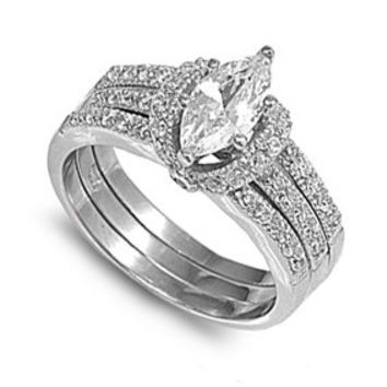 Sterling Silver Clear Marquise Engagement Ring and Wedding Band Guard CZ Bridal Set - 2 Rings