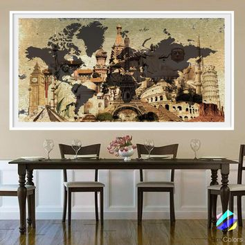 XL Poster World Map travel Art Print Photo Paper beige paint Abstract watercolor Wall Decor Home  (frame is not included) FREE Shipping USA!