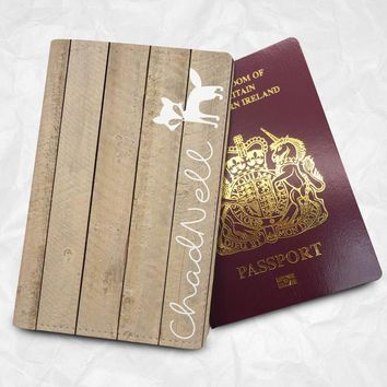 Wooden and Cat Personalised Custom Name Passport Cover Passport Holder with FREE Name Printing (BBS052)