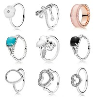 925 Sterling Silver Vibrant Spirit Pave Love Heart Locket With Crystal Signature Ring For Women Wedding Diy Pandora Jewelry