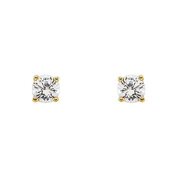 Kids 14k Yellow Gold 3mm White Sapphire Youth Threaded Post Earrings