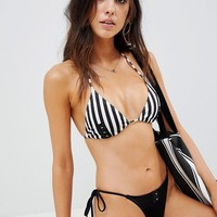 ASOS Mix and Match Triangle Bikini Top in Stripe Print with Hook and Eye at asos.com
