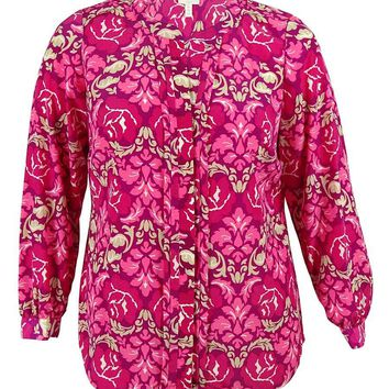 Charter Club Women's Floral Print Pintucked Blouse