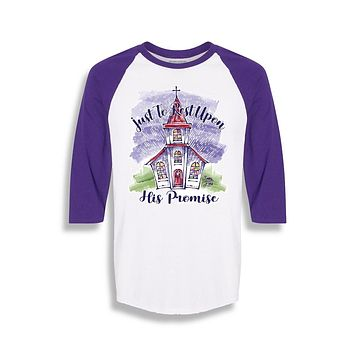 Sassy Frass Just to Rest Upon His Promise Church Christian Raglan Girlie Bright T Shirt