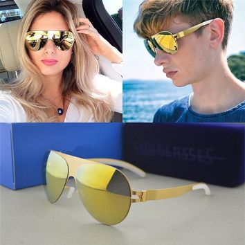 Luxury Sunglasses Brand Designer Franz Celebrity Hand Made Mirror Sunglasses Men&Women Gold Flash Pilot Aviator Sun Glasses