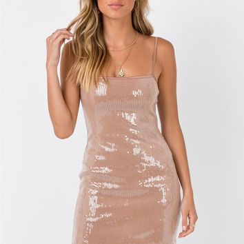 Motel | Selah Dress Camel Clear Sequin | Princess Polly
