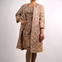 Wiggle Dress and Matching Coat, 1950's  Pale Pink and Taupe Dress and Coat, 50's Matching EnsembleSize Small