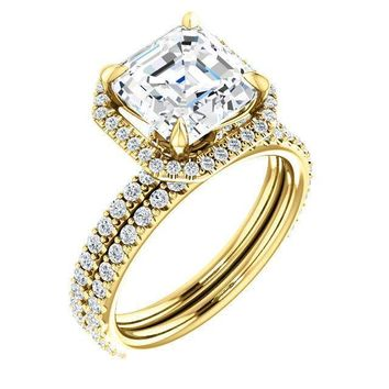 Asscher Moissanite Diamond Accent Ice Halo Collar Ring