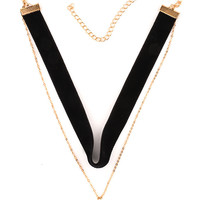Black Multirow Faux Pearl Pendant Choker Necklace