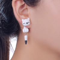 Polymer Clay Black and White Fox Stud Earrings For Women Fashion Animal Piercing Earrings Jewelry
