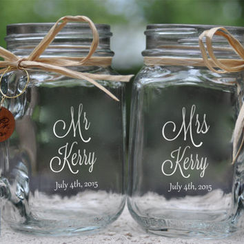 Mr and Mrs Mason Jar Mugs with wood charms.  Font and handle direction choices