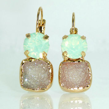 Mint & Gray Druzy Earrings, Double Stone Drop Earrings, Dangle Gemstones  Earrings Gold Earrings, Druzy Agate Bezel Sets Earrings.