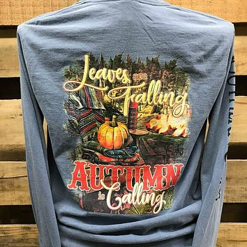 Southern Chics Leaves are Falling Autumn is Calling Fall Comfort Colors Long Sleeves Bright Girlie T Shirt